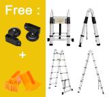 Deli 5m 16.5 Feet Aluminum Telescoping Ladder Telescopic Extension Multi Purpose Heavy Duty Ladders