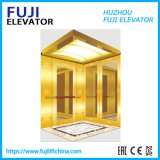 FUJI China Factory Vvvf 630kg Goldn Mirror Etching Finish Passenger Elevator with Stainless Steel Glass Door