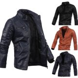 Fashion Spring Custom Mens Faux Black Motorcycle PU Leather Jackets for Men