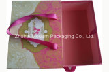 Portable Cardboard Gift Paper Box with Ribbon Handle