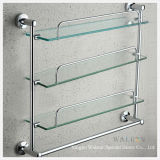 Clear Tempered/Toughened Glass Multilayer Bathroom Shelf