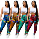 High Quality Ladies Colorful Print Streetwear Stacked Pants Women Trouser