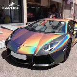 Carlike Dark Grey Chrome Glitter Chameleon Laser Color Change Wrap Car Vinyl Sticker