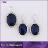 Shining Blue Big Stone Zirconia Latest Gold Plated Jewelry Set