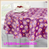 Waterproof PVC/PEVA Printed Tablecloth with Flannel Backing (TJ0280)