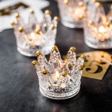 Manufacturers Creative Crystal Glass Ashtray Personality Handmade Mini Crown Glass Candle Holder for Home Decor
