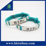 Fashion Sport OEM Rubber Band Silicone Bracelet Metal Wristband Customized Silicon Wristbands with Metal Buckle