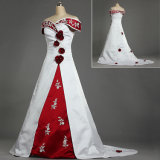 W225 off Shoulder Embroidery Satin White and Red Wedding Dresses with Flowers
