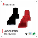 Red Black Angled Battery Terminal Insulating Boots (SET OF 2)