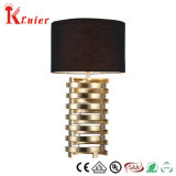 Hot Sale Hotel Table Light Modern Steel Table Lamp with Black Fabric Shade