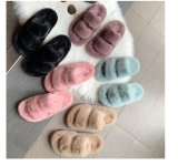 New Arrivals Factory Wholesale Women House Fluffy Furry Fur Slides, Hot Sales Vegan Faux Ladies Home Slippers