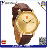 Yxl-386 Hot Sale Gold Face Business Watch Wrist for Mens Brand Leather Quartz Water Resistant Date Watches