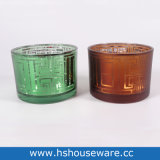 Geometric Pattern Antique Round Glass Candle Holder