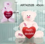 Pink Happy Birthday Bear Carrying Red Heart- Toy Gift