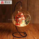 2017 Handmade Popular Wooden Toy DIY Dollhouse with Glass Ball