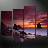 Coastal Landscape Canvas Prints/Beach Sunset Art Decoration Wall/Ocean Waves Oil Painting Prints