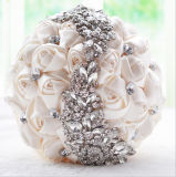 Satin White/Champagne Rose Flower Bridal Wedding Bouquet with Stones (Dream-100087)