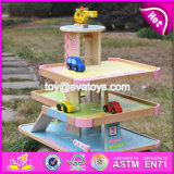 New Products Lovely Pink Children Wooden Toy Garage for Cars W04b050