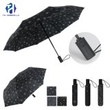 3 Fold Auto Open with Star Printing Rain Umbrella