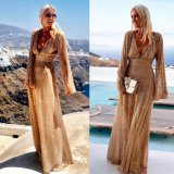 New Ladies Sexy Deep V-Neck Long-Sleeved Dress Splicing Mesh See-Through Sparkling Party Evening Dress