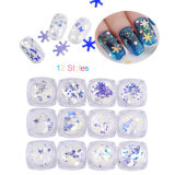 12 Styles Christmas Blue Sequin Sticker Nail Art Decoration\ Snowflake Glitter Accessory