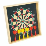 Wooden Frame Magnetic Dartboard with 6PCS Darts