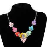 Flower Alloy Crystal Acrylic Necklace, Fashion Jewelry