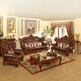 Antique Wood Leather Sofa Set for Home Furniture (529)