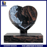 Indian Aurora Heart Shape Headstones with Carved Rose