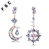 Flower Shaped Sun and Moon Clear Glass Alloy Earring