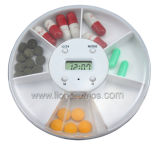 Round Plastic Smart Timer 7 Day Pill Box with Digital Timer