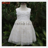 Flower Embroidered Tulle Dress Beading Dress Lace Wedding Dress for Party Dress