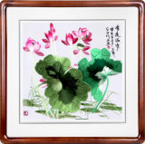 Chinese Beautiful Computer Embroidery Scenery Wall Painting of Lotus