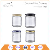 Food Grade Clear Glass Food Jars with Lug Cap and Logo Printing