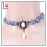Fashion Bridal Pearl Female Blue Rose Lace Choker Necklaces
