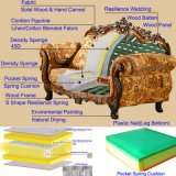Home Sofa Furniture Factory Wholesale Wood Carved Classic Fabric Sofa in Optional Furniture Color and Couch Seats