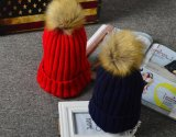 Parent-Child Children′s Solid Color Crimp Imitation Rabbit Hair Ball Knit Warm Hat