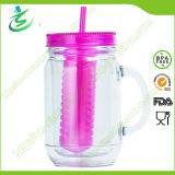 20 Oz Mason Jar with Fruit Infuser, Plastic Water Tumbler