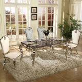 Modern Simple Design Glass Dining Table with Chairs