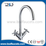 Double Handle High Neck Brass Chrome Kitchen Faucet Sink Mixer