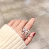 Rotary Snowflake Finger Ring Micro-Inlaid Zircon Exaggerate Style Charm