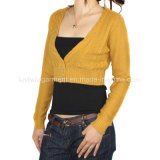 Women Knitted V Neck Long Sleeve Cardigan with Buttons in Nice Fitting (12AW-045)
