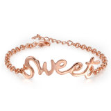 Cool Style with Letter Sweet Design Gold Bracelet for Women