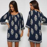 Wholesale Long Sleeve Leaf Printing Women Loose Western Dresses