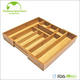 Kitchen Bamboo Expandable Cutlery Tray Drawer Organizer with MDF