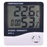 Indoor Digital C/F Thermometer Hygrometer Temperature Humidity Meter Clock HTC-1