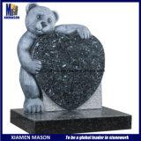 Teddy Beart Holding Heart Blue Pearl Granite Headstones for Children