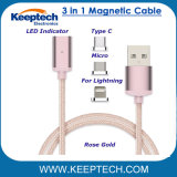 3 in 1 Magnetic USB Charging Cable Nylon Braided for iPhone Android and Type-C
