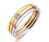 Gorgeous Three Ring Set Titanium Steel Silver, Gold and Rose Gold Crystal Ring Triple Ring for Women