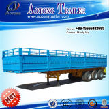 3 Axle 60 Tons Cargo Semi Trailer with Drop Side